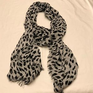 charming Charlie's grey leopard print scarf.